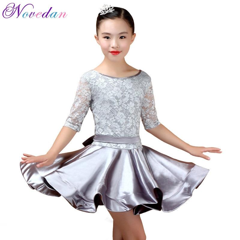 New Girl Latin Dance Dress Girls Ballroom Skirt Dress Girls Satin Bright Satin Fabric Dance Skirt Costume Competition Dancewear