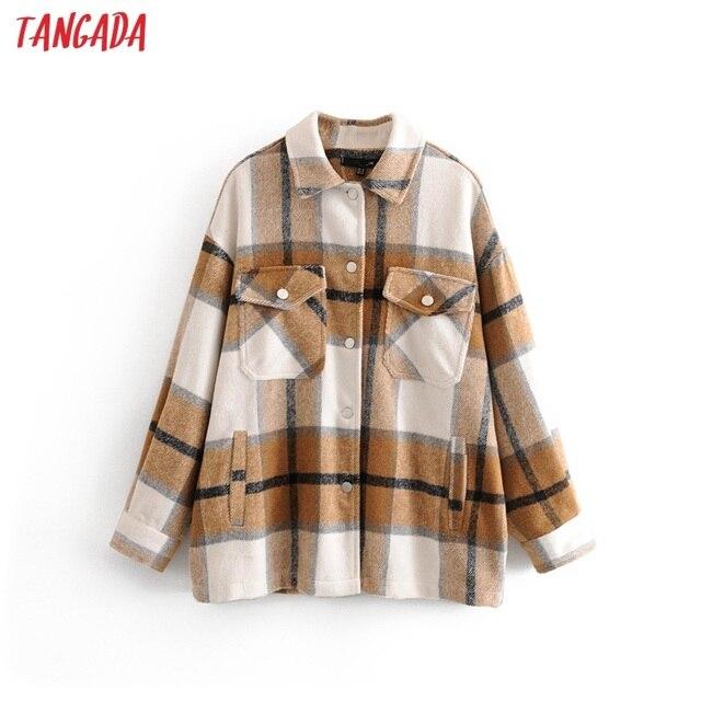 Tangada 2019 Winter Women green plaid Long Coat Jacket Casual High Quality Warm Overcoat Fashion Long Coats 3H04 5