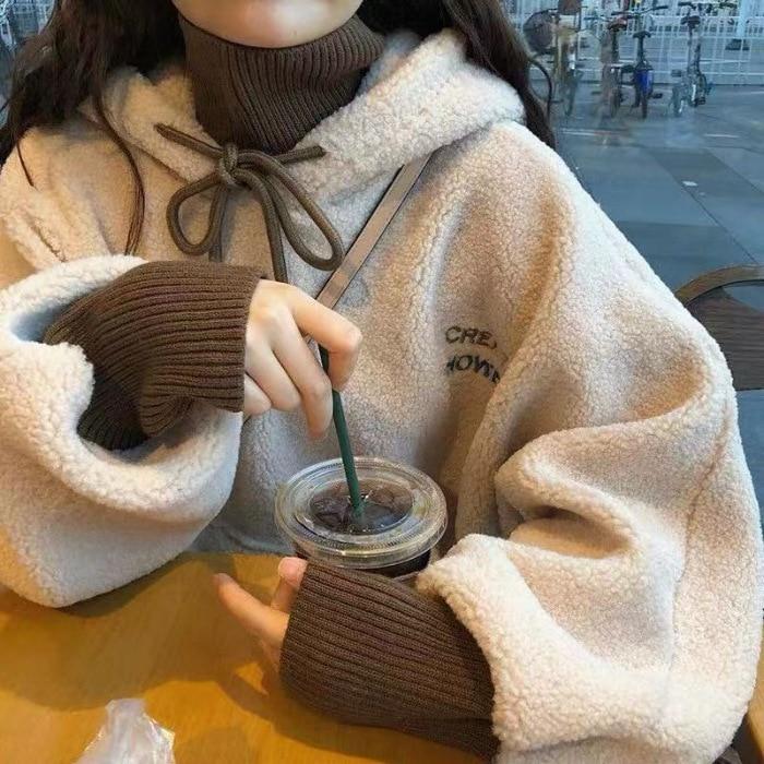 Autumn&Winter Kpop Beige Blue Loose Fit Women Hoodie College Style Add Velvet Long Sleeve Oversize Hoodie Free Shipping 2020