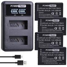 PowerTrust – lot de 4 batteries EN EL20a, akku + LED, double chargeur USB pour Nikon Coolpix P1000, Nikon1 J1, J2, J3 Nikon1 AW1, EN-EL20, EN-EL20A
