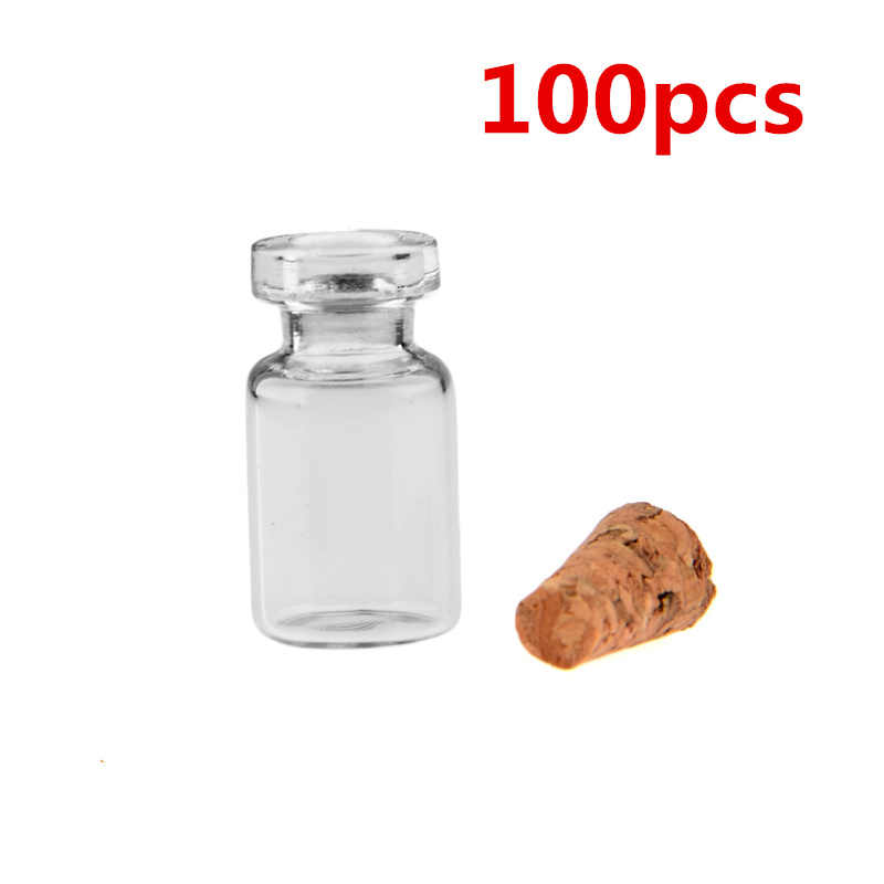 50pcs/ 100Pcs 0.5ml มินิขวดแก้วล้างขวดขวดที่ว่างเปล่าขวดแก้วจุกงานแต่งงานขวดแก้ว