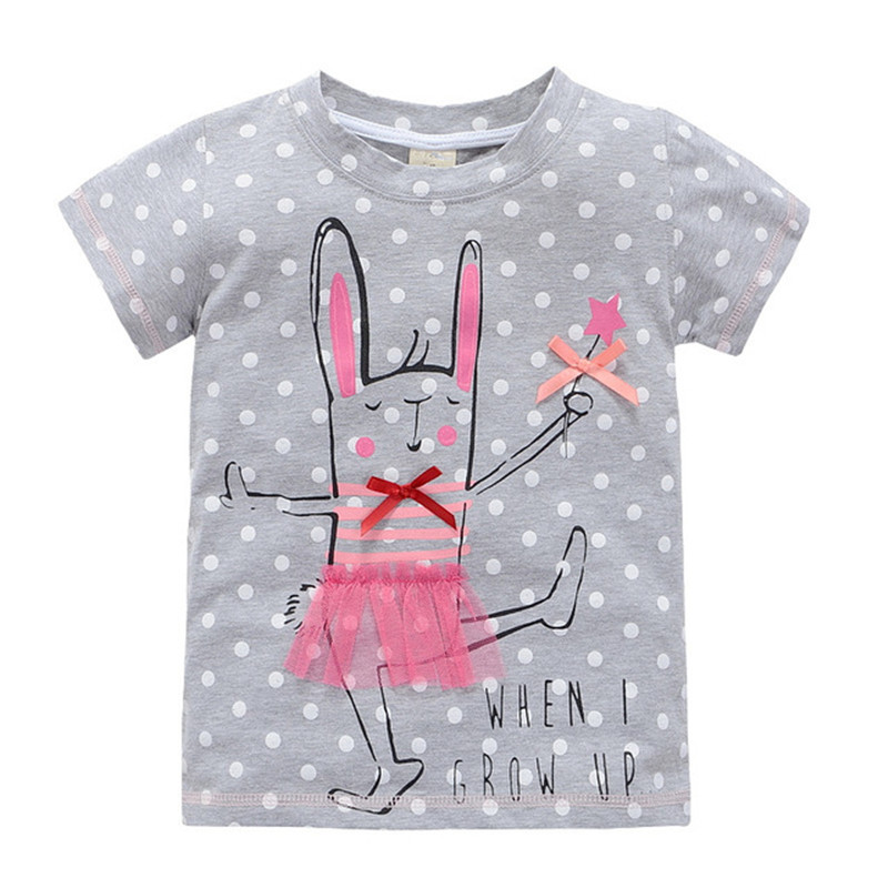 Baby Girls Cartoon T-shirts Tops Tees Kids Girls Short Sleeve Cotton Horse Rabbits Clothing Tops T-shirts For Girls 2-7 Years