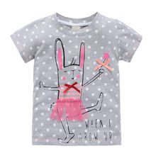 baby girls cartoon t-shirts tops tees kids girls short sleeve cotton horse rabbits clothing tops t-shirts for girls 2-7 years(China)