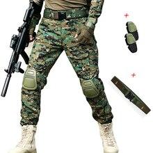 Военные армейские брюки с наколенниками страйкбол тактические брюки карго лесной Мультикам охотничий камуфляж брюки