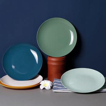 Talerz imitacja porcelany przekąska talerz na przekąski okrągły domowy plastikowy posiłek stół talerz na owoce tanie i dobre opinie CN (pochodzenie) Fruit Plates ROUND Z tworzywa sztucznego Stałe