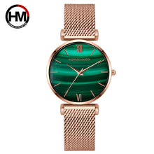 Hannah Martin Women watches Green Dial Ladies Japanese quartz wristwatch waterproof Stainless Steel clock waterproof Reloj Mujer(China)
