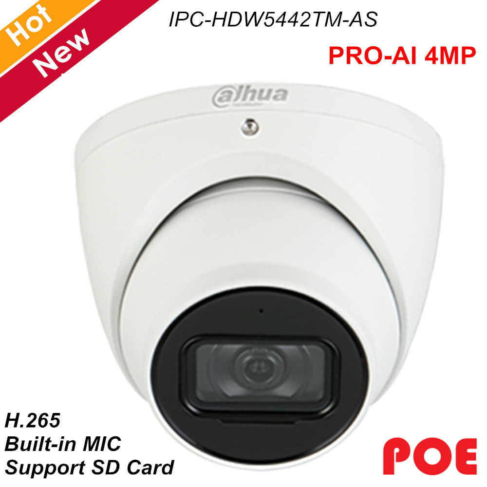 New Dahua IP Camera Waterproof Network Camera 4MP Built-in MIC 2.8mm 3.6mm 6mm Optional H.265 2 IR Leds POE IPC-HDW5442TM-AS