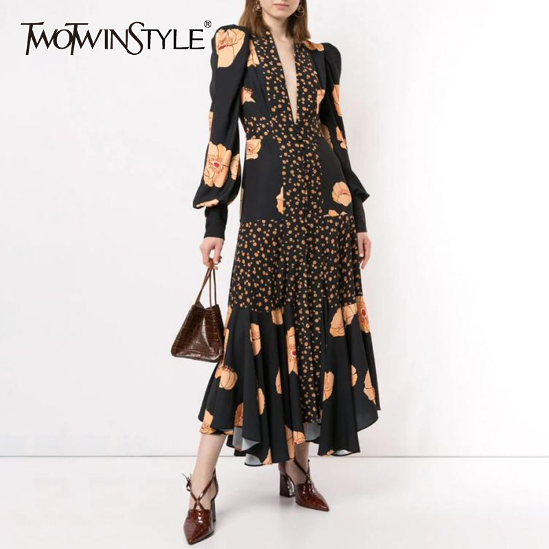 TWOTWINSTYLE Patchwork Print Dress For Women V Neck Lantern Sleeve High Waist Dresses Female 2019 Autumn Large Size Fashion New