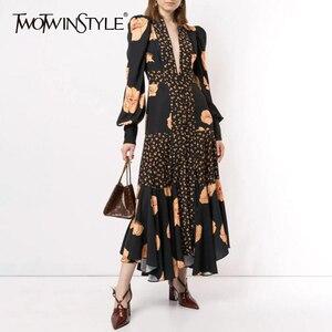 Image 1 - TWOTWINSTYLE Patchwork Print Dress For Women V Neck Lantern Sleeve High Waist Dresses Female 2020 Autumn Large Size Fashion New