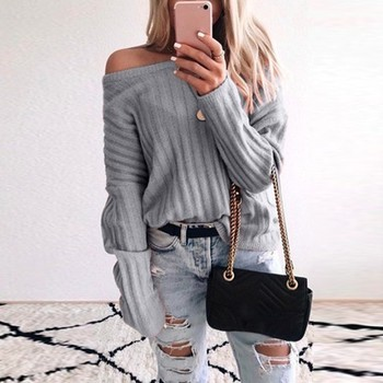 Women Solid Color Oblique Collar Sweater Off-the-shoulder Long Sleeve Casual Sweater Pullover Loose Sweaters
