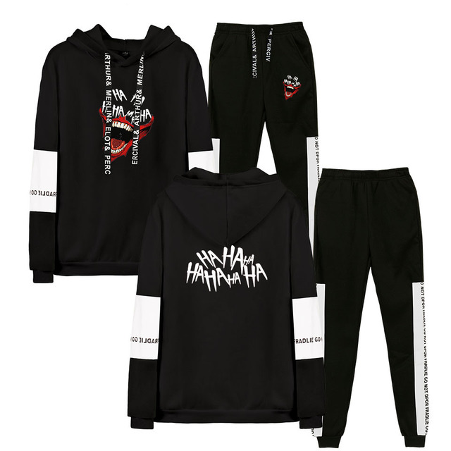 Joker New 2D Pinting kpop Autumn Winter Hip Hop Hoodies Sweatshirts And Sweatpants Men Women Two Piece Set Hooded Suit