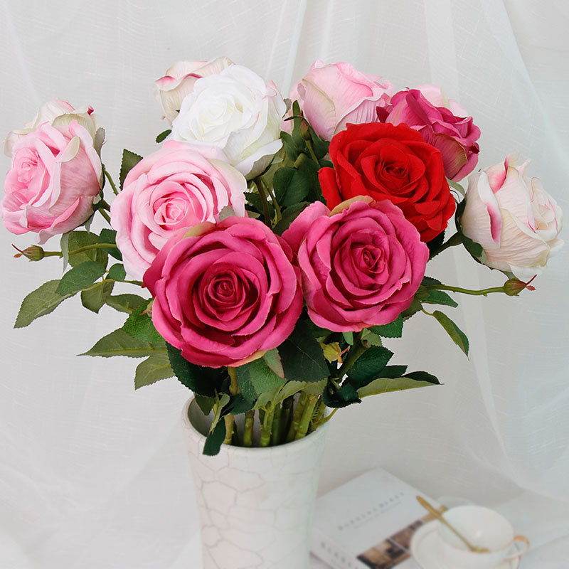 70cm Artificial Flowers Silk Red Rose Flowers Bouquet Big Head for Home Wedding Garden Decoration Indoor Cheap Eternal Gifts in Artificial Dried Flowers from Home Garden
