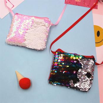 1 sztuka 6 kolorów z syrenką z cekinami torebka dziecięca torebka modna dziecięca kieszonkowy portfel z cekinami tanie i dobre opinie Poliester CN (pochodzenie) Dziewczyny Błyskotka M191826 zipper Moda