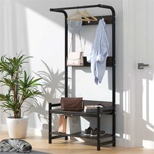 2-Tier-Hall-Tree-Entryway-Organizer-Storage-Shelf-Free-Standing-Wood-Accent-with-Metal-Hooks-and-Frame-3-in-1-Design(China)