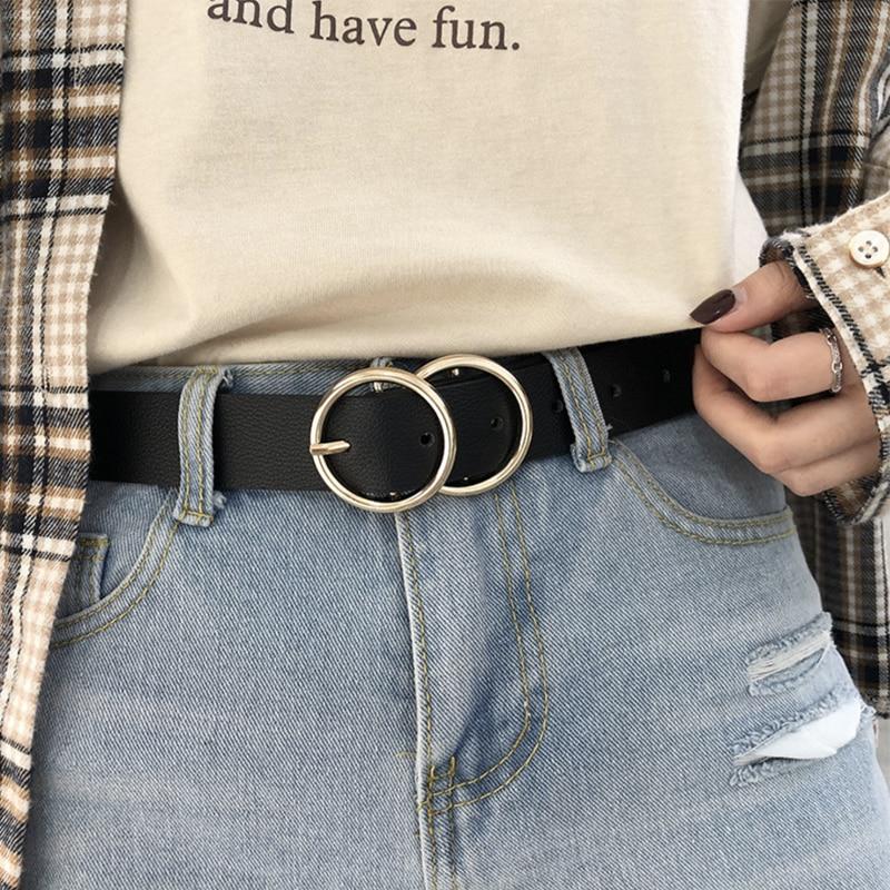 Luxury Brand Belt Black Woman Gold Buckle Leather Belts For Women Jeans Fashion Ladies Girls Waist Ceinture Femme Waistband 2020