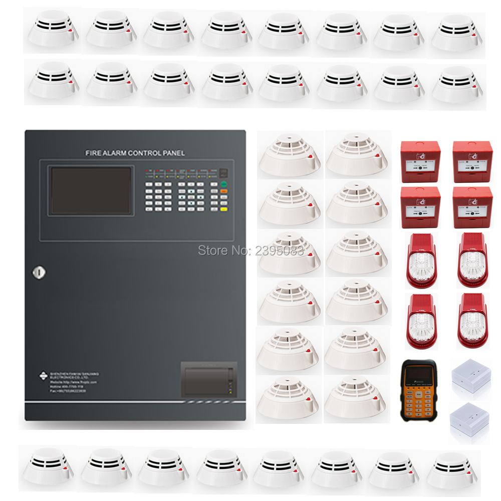 324 Points  Addressable Fire Alarm Control Panel Fire Alarm System One Loop With Detectors