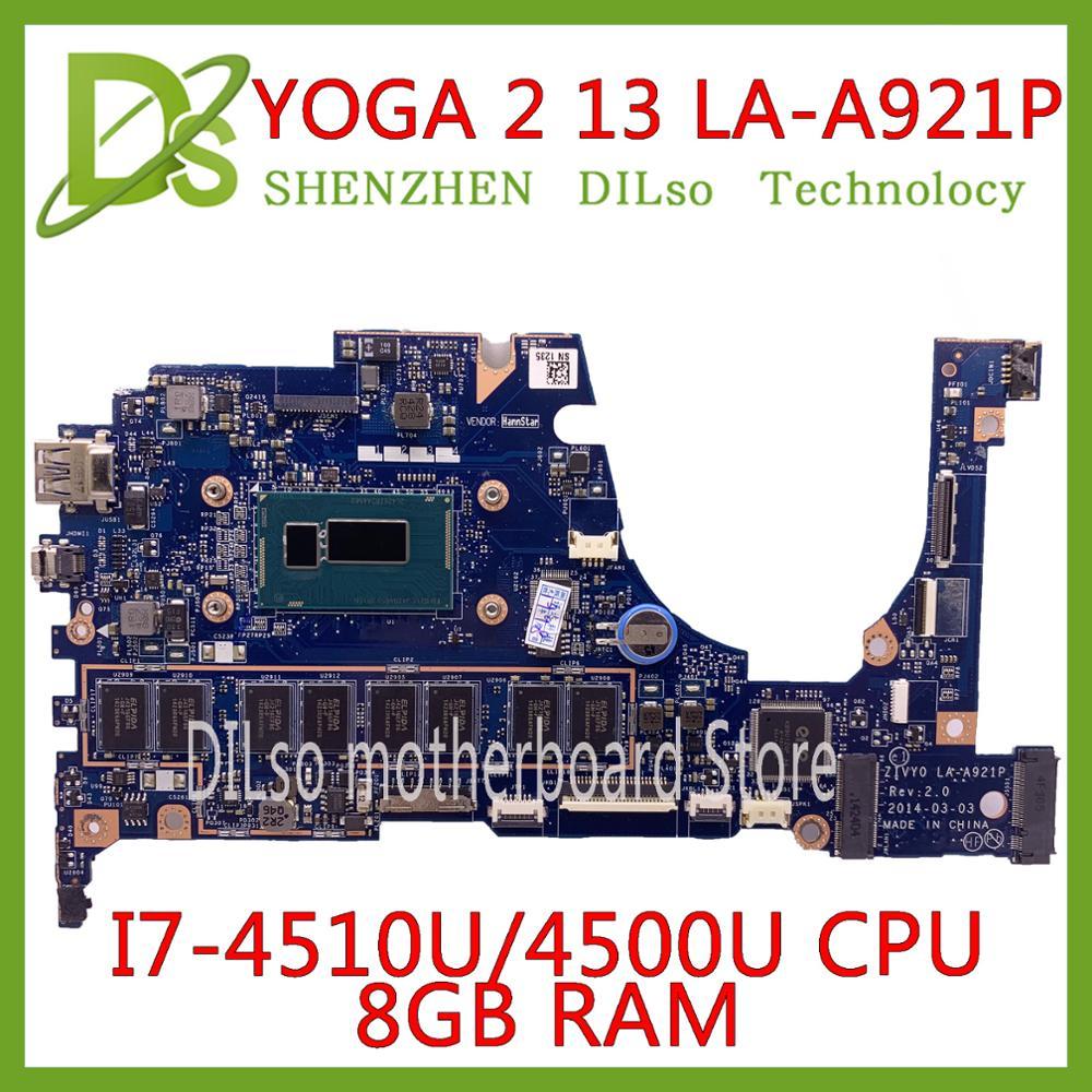 KEFU For Lenovo YOGA 2 13 Laptop Motherboard LA-A921P With I7-4510U/4500U 1.70GHz CPU 8GB RAM Original Mothebroard