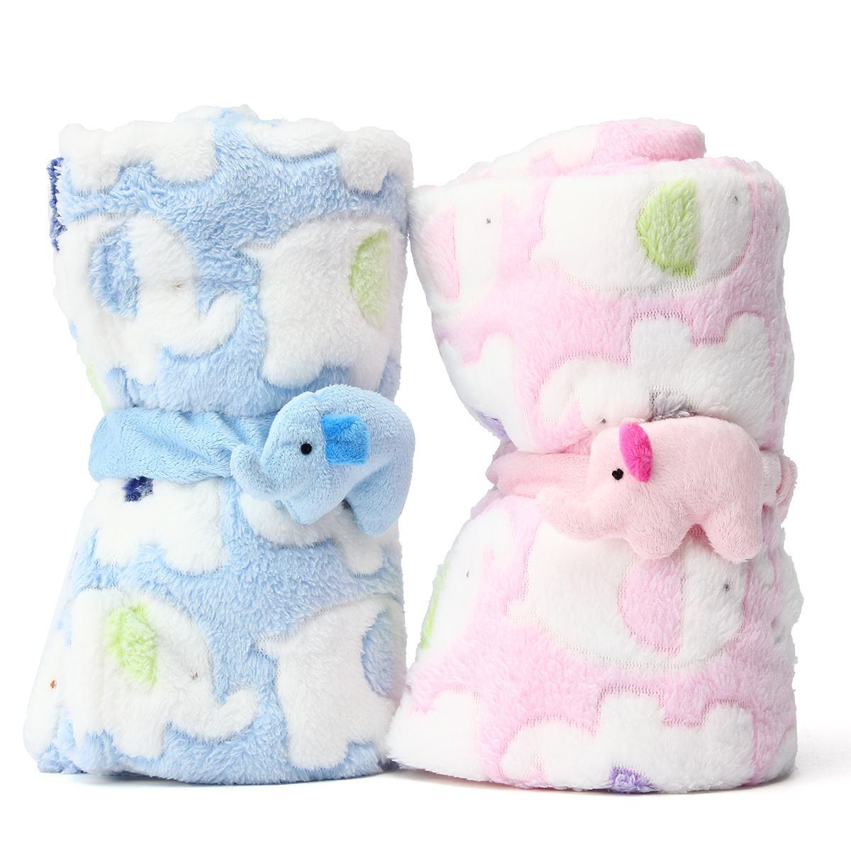 Coral Soft Blanket Kids Children Breathable Blanket Lovely Elephant Baby Soft Trolley Portable Towel  Bath Blanket