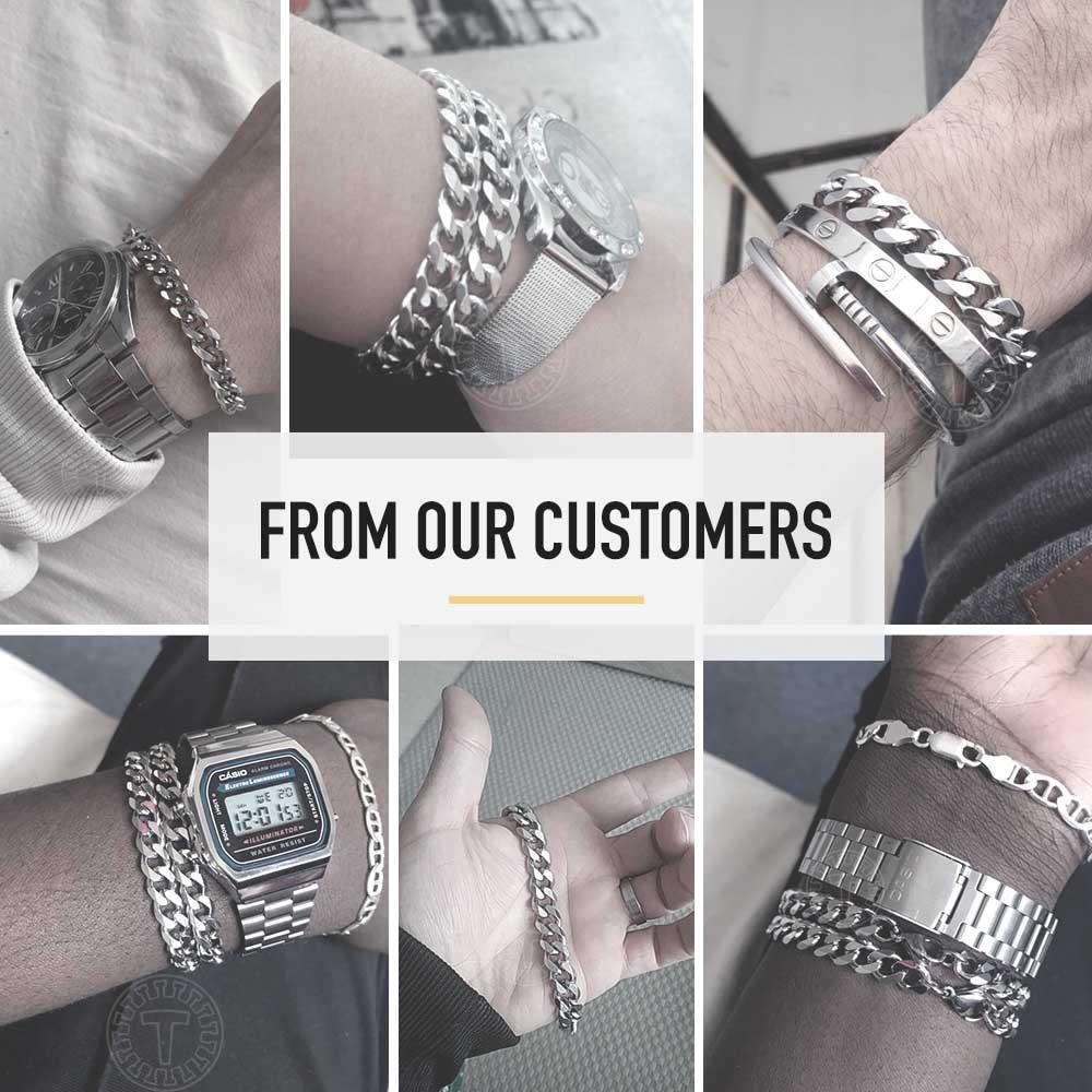 3 11mm Men s Bracelets Silver Stainless Steel Curb Cuban Link Chain Bracelets For Men Women