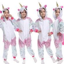 Kışlık pijama kızlar Unicorn Kigurumi Onesie pijama pazen sıcak karikatür pijama Unicornio Anime pijama çocuklar 4 6 8 10 12 yıl