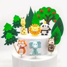 цена на Cartoon Safari Party Cake Topper Animal Decor Creative Ceramic Process Kids Baby Birthday Party Decoration Sweet Party Gifts