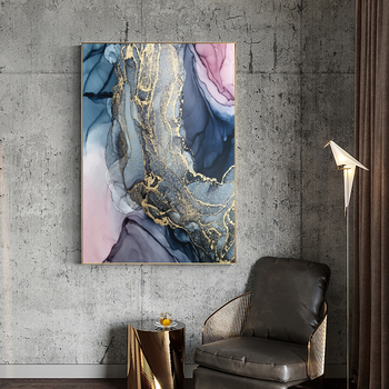 Nordic Morden Abstract Pink-gray line Wall Art Canvas Painting Golden Blue smoke Art Poster Print Wall Picture for Living Room image