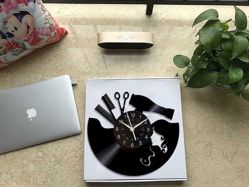 Vintage płyta winylowa zegar ścienny fryzjer Salon fryzjerski Salon kosmetyczny zegar winylowy dekoracje ścienne dekoracje artystyczne unikalny Handmad