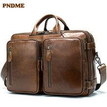PNDME винтажный высококачественный деловой мужской портфель из натуральной кожи, многофункциональный дизайн, большие дорожные сумки через плечо