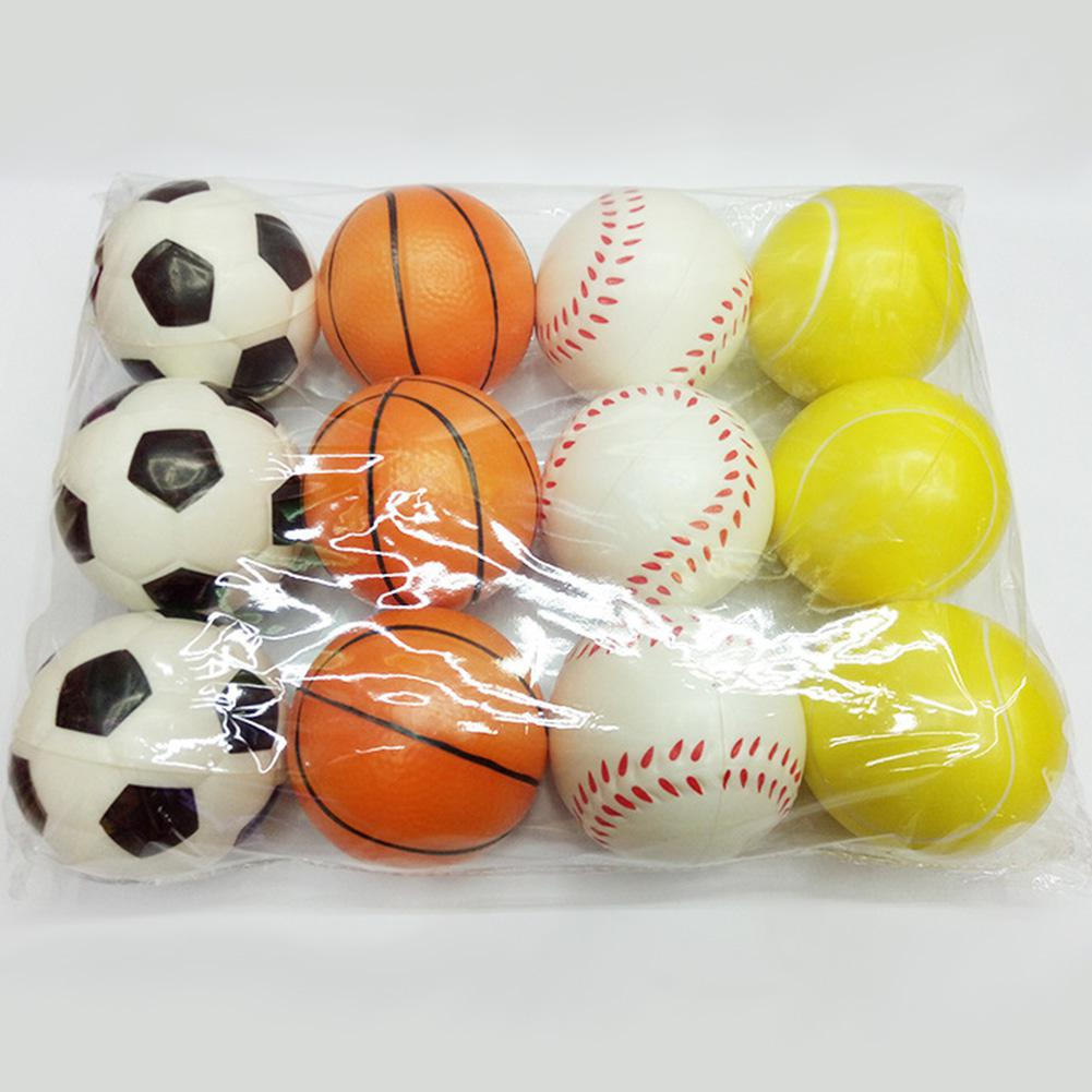 12 Pcs 6.3cm Mini Stress Balls Soft PU Football Basketball Tennis Baseball Toy For Sport Training Practice