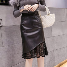 New Autumn Winter Woman PU Skirt Korean Style High Waist Solid Black Lace Patchwork Bodycon Midi Skirt Elegant OL Skirt Saias(China)