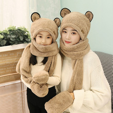 Hat Plush Gloves Warm Winter Bear 3-In-1 Cap Hoodie Ears-Hat Parent-Child Cute