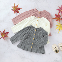 2020 Fall Winter Clothes Kids Baby Girls Sweater Toddler Girl Knitted Long Sleeve Single Breasted Ruffles Sweaters Dresses