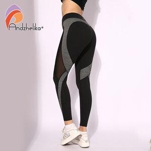 Image 1 - Andzhelika High Quality Mesh Running Sport Tights Women Mention Hip Gym Yoga Capri Pants Tummy Control Fitness Athletic Leggings