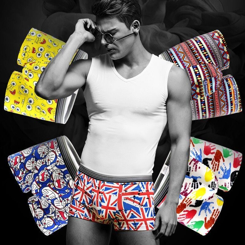 5PCS/Lot Men's underwear cute cartoon underpants male pure men panties shorts underwear boxer shorts