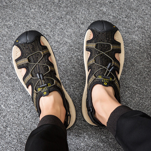 Image 5 - Summer Mesh Men Sandals Outdoor Casual Trekking Beach Slip On Closed Toe Breathable Mens Sandles Plus Size 49s