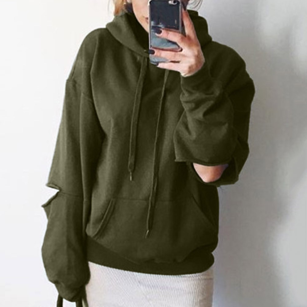 2019 Women Autumn Sweatshirt Hooded Cut Out Solid Hole Pullover Tops 7.26