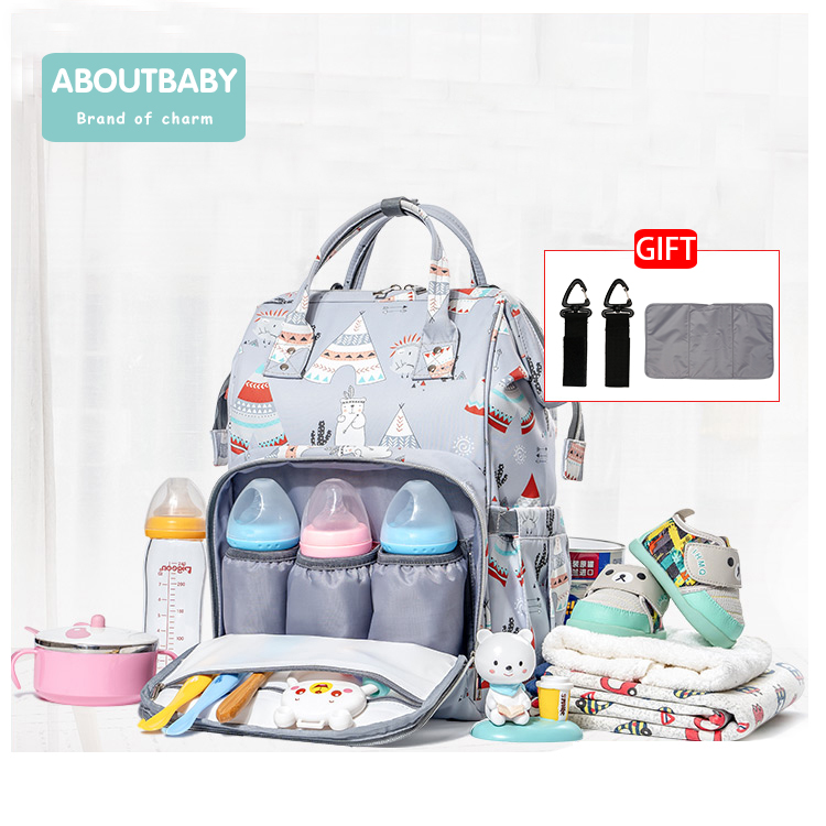 Aboutbaby Fashion Mummy Maternity With Stroller Straps For Baby Care Bag Multi-function Diaper Bag Backpack Nappy Baby Bag