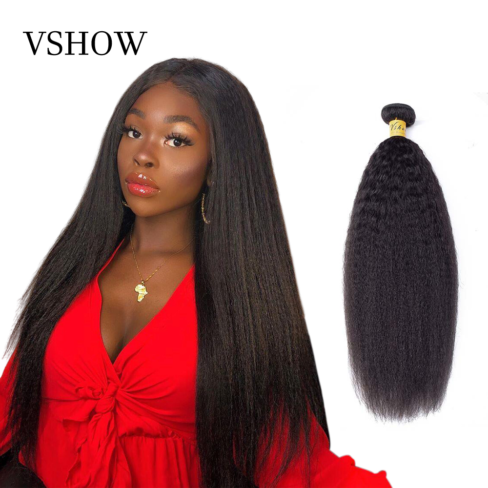 VSHOW Kinky Straight Hair Weave Brazilian Remy Hair Extension 1/3/4 Bundles Natural Color Yaki Human Hair Weave Bundle For Women
