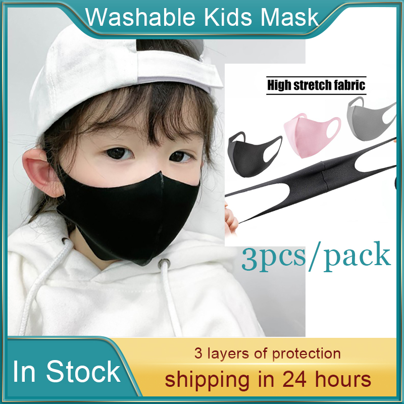 3Pcs Cotton Kids Adult Breathable Cover Mouth Mask 3D Reusable Anti Pollution Cover Elastic Earloop Breathing Sports Face Masks