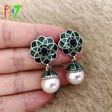 Fj4z новые элегантные серьги в виде цветка с зеленой эмалью
