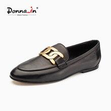 Donna-in 2021 Neue Frühjahr Schuhe Frauen Müßiggänger Luxus Echtes Leder Slip-on Wohnungen Frauen Gummi Laufsohle Hohe qualität