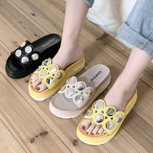 CINESSD Chaussure Femme PU Casual Shoes Women Slippers High Heels Fashion 2020 Summer Shoes Ladies Outside Slippers Female Bling bling bling high heel crystal decked slide sandal gorgeous glittering slippers summer women shoes sexy black outside slippers