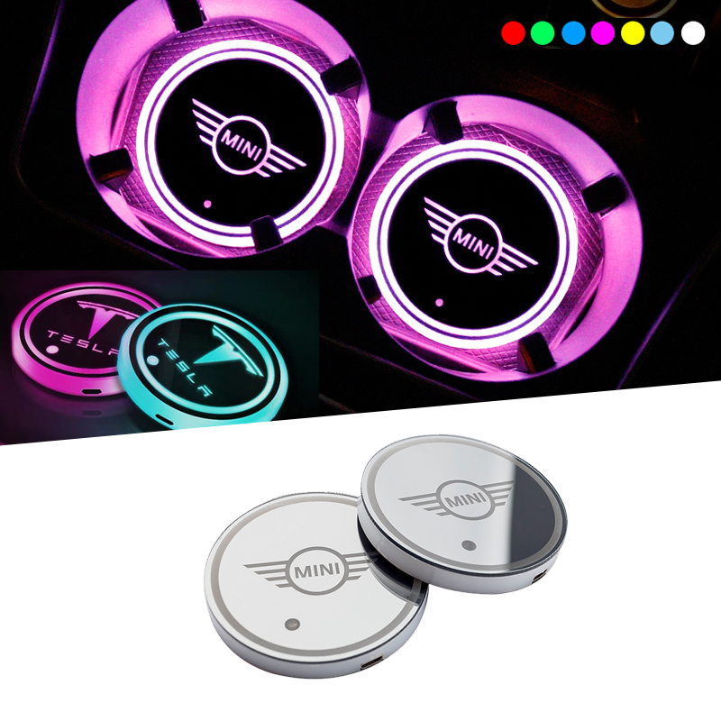 Led water coaster water glass atmosphere light Sticker for mini cooper Tesla model 3 bmw audi Cadillac kia Car accessories