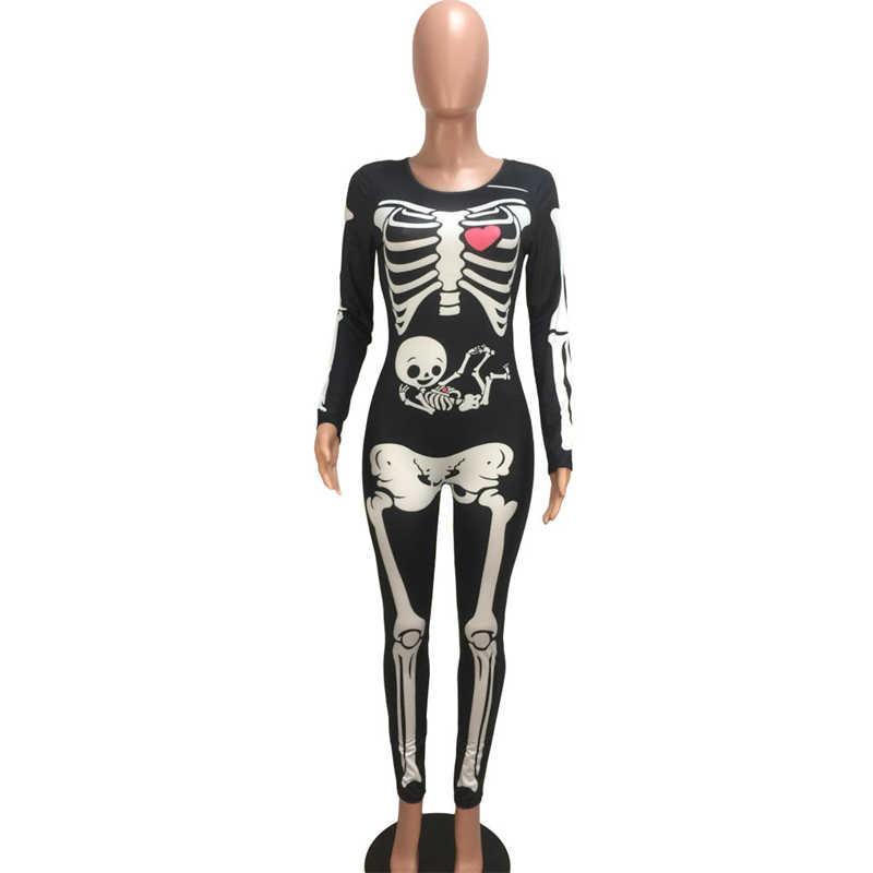 Adogirl Хэллоуин Череп печати женский комбинезон с круглым вырезом с длинным рукавом обтягивающий комбинезон Модный комбинезон для вечеринки праздничные костюмы наряды