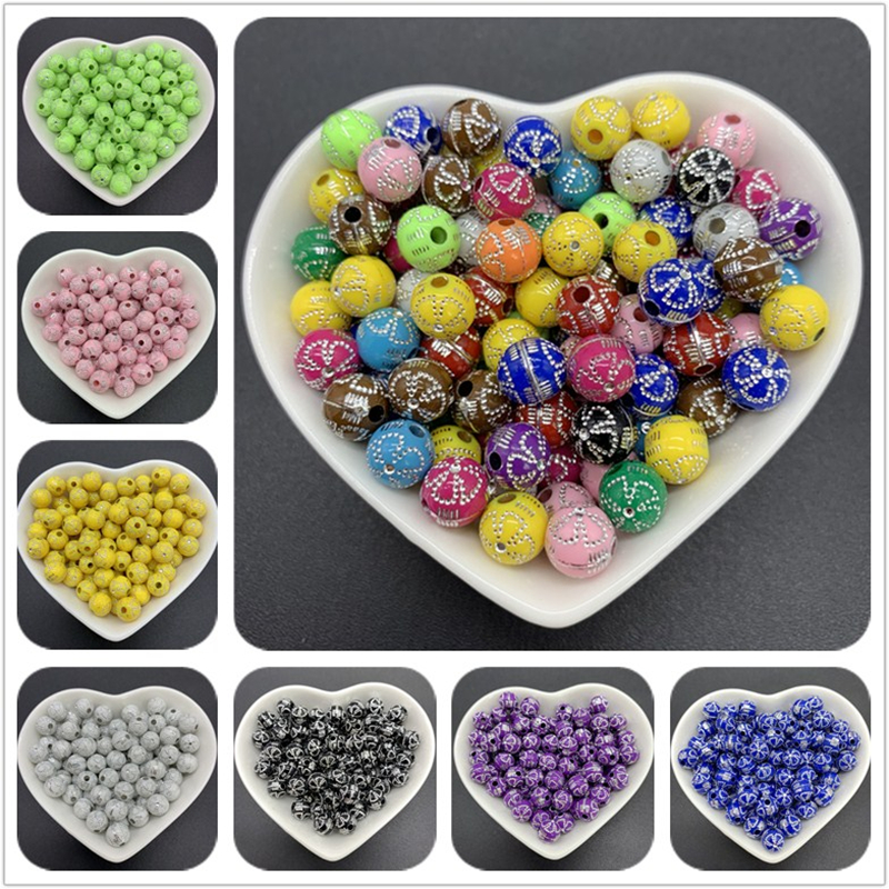 50pcs 8mm New Acrylic Round Beads Charms Spacer DIY Bracelet Jewelry Making