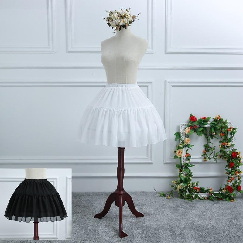 Black Midi 2 Hoops Chiffon Skirt Women's Lolita Chiffon Petticoat A-line Skirt Bustle Cocktail Pannier Underskirt White CQ033