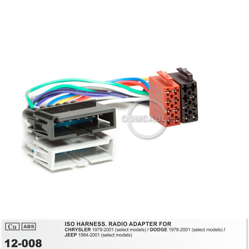 12-008 ISO Radio Adapter for Chrysler Dodge Jeep Radio ... on jeep ignition lock, jeep engine wiring harness, jeep transmission harness, jeep dvd player, jeep alpine, jeep alternator, jeep trailer hitch wiring harness, jeep tow bar wiring harness, jeep subwoofer, jeep compass wiring harness,