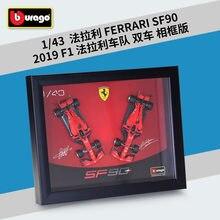 Bburago 1:43 F1 2019 Ferrari SF90 Mit rahmen Signiert ausgabe Formula One Racing Alloy Simulation Auto Modell Sammeln geschenke spielzeug