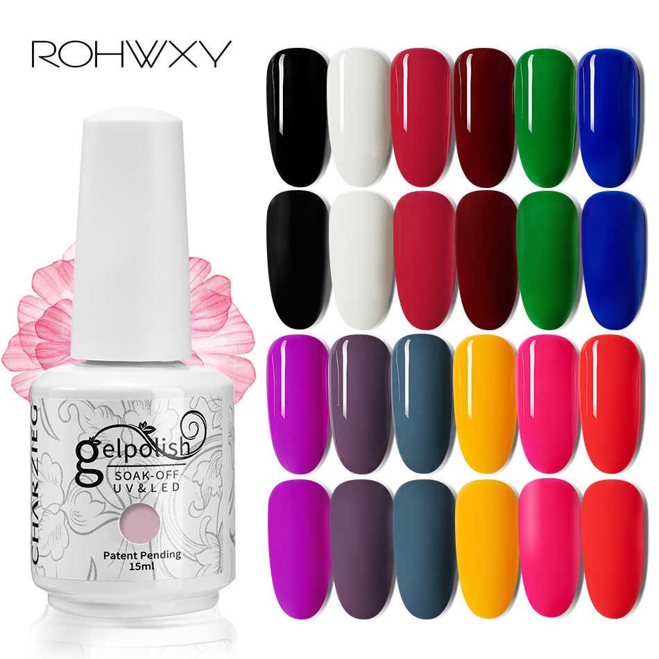Rohwxy 15 Ml Uv Gel Nail Polish Top UV LED Gel Nail Art Pernis Hybrid Rendam Off Gel Lacquer Beruntung cat Kuku Gel Polandia Gellak