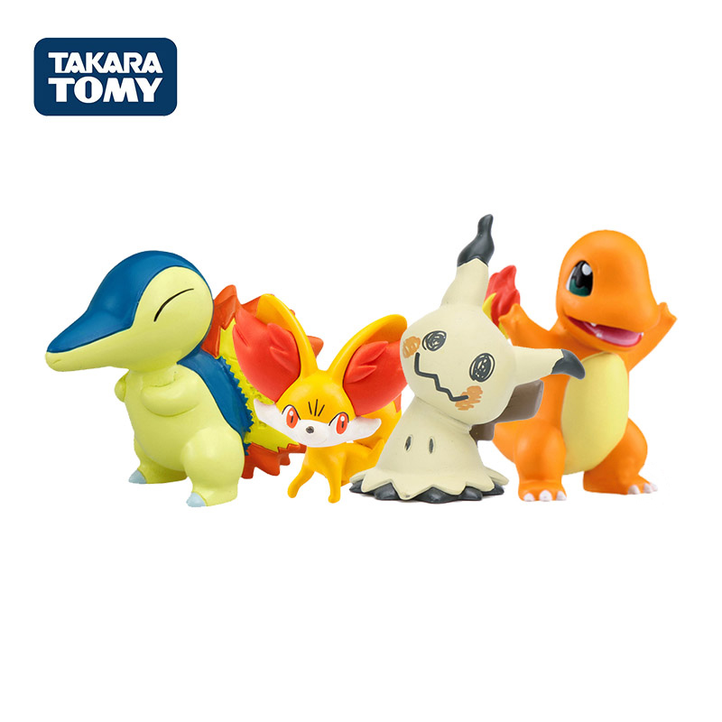 Takara Tomy Genuine Pokemon Charmander Squirtle Mimikyu Raichu Mudkip Oshawott Pikachu Snorlax 4cm Collection Toy Figure Gifts